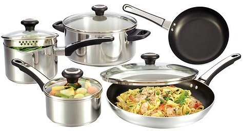 Farberware - 12-Piece Cookware Set - Stainless Steel