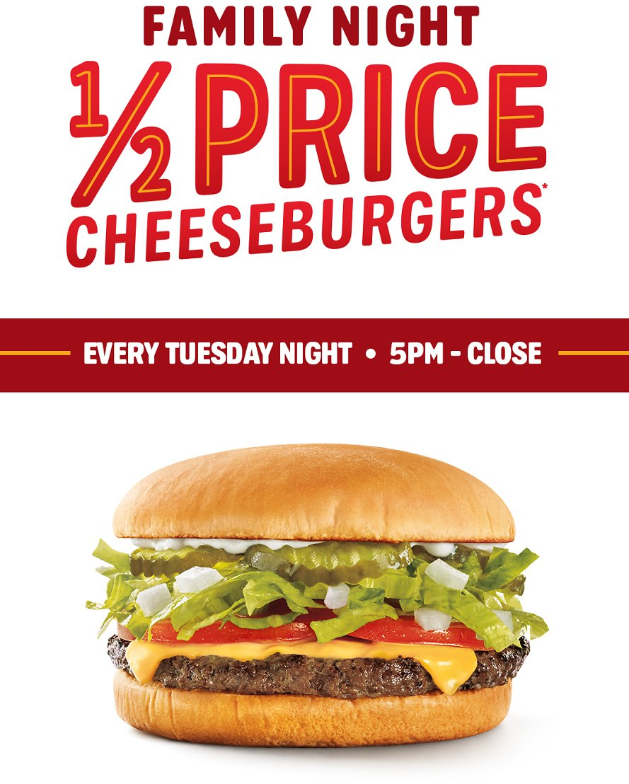 Sonic Drive-In - 1/2 Price Cheeseburgers Tuesday - Family Night  5pm-close