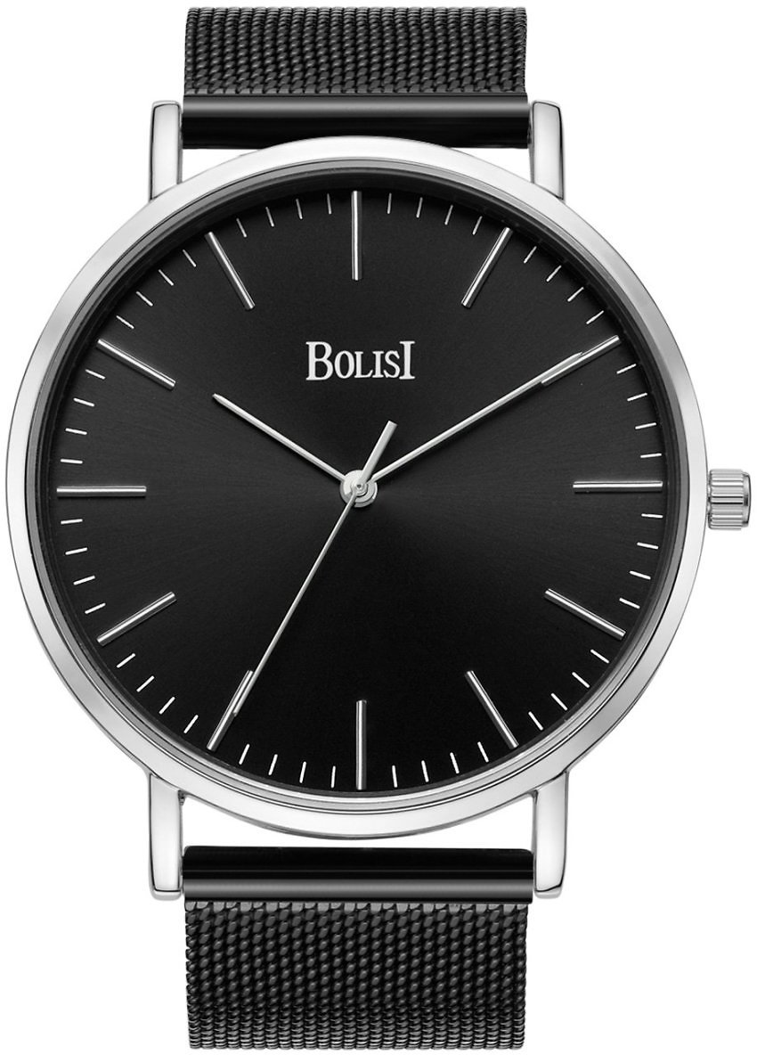 BOLISI Mens Womens Watches Ultra-thin Elegant Classic Analog Quartz Fashion Watch with Milanese Mesh Band or Leather Band for Father's Day Gift (Mesh Silver)