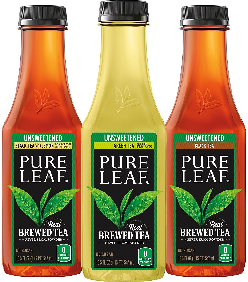 Pure Leaf Iced Tea, 0 Calories Unsweetened Variety Pack, 18.5 Fl Oz (12 Pack) - Subscribe & Save