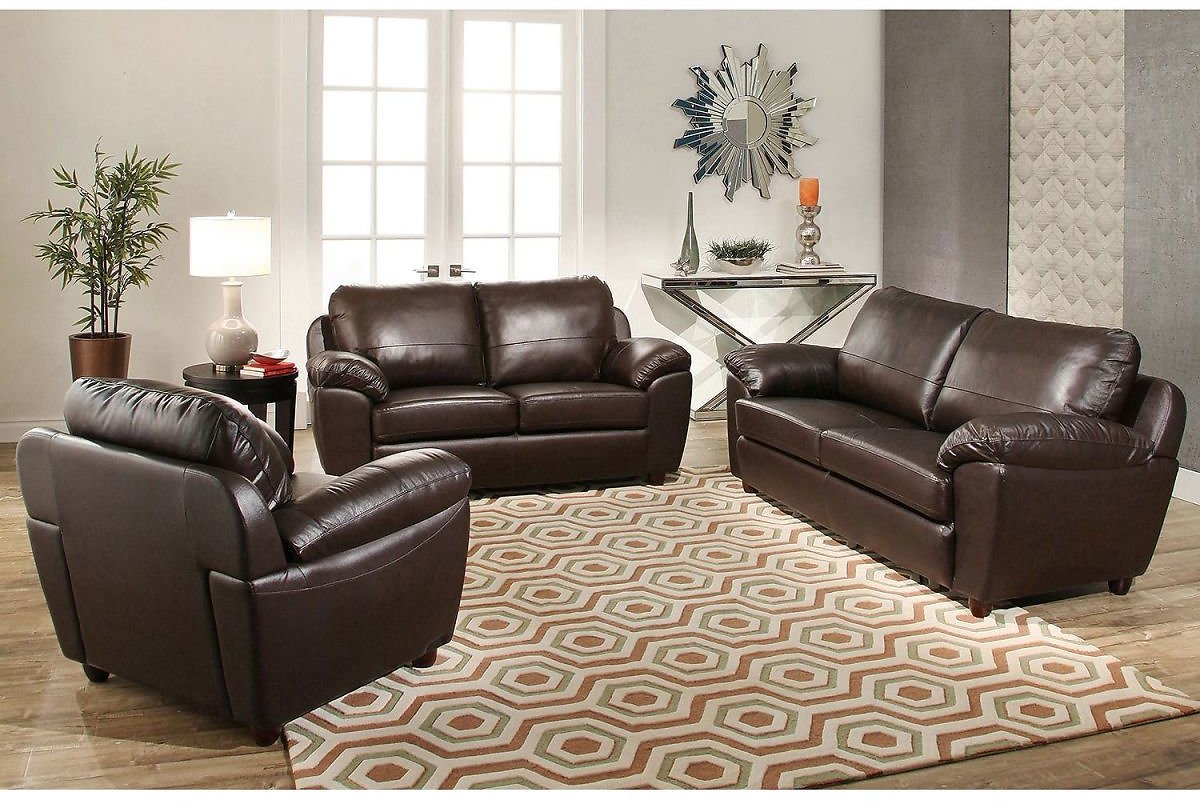 3-Piece Mavin Leather Sofa, Loveseat & Armchair Set