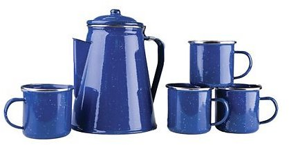 Stansport Enamel 8 Cup Coffee Pot With Percolator And 4 12 Ounce Mugs