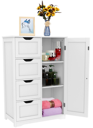 Wooden Floor Cabinet Bathroom Storge Cabinet with 4 Drawers White