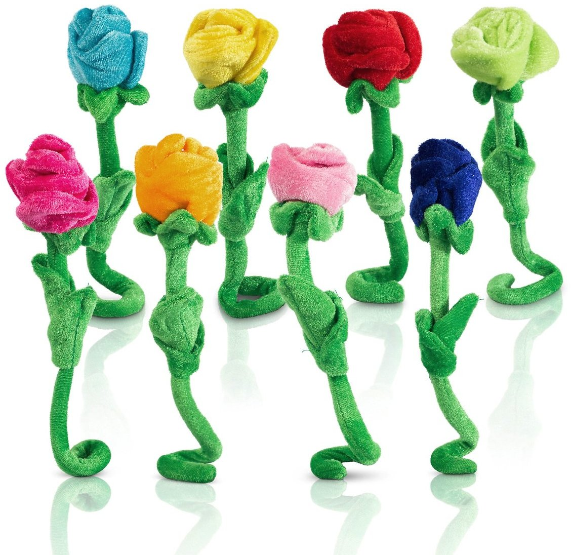 50% OFF- Set Of 8 Rose Plush Colorful Soft Stuffed Flowers Toy With Bendable Stems For Kids $5.49