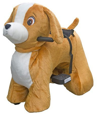 (Ships Free) Rechargeable 6V/7A Plush Animal Ride On Toy for Kids (3 ~ 7 Years Old) With Safety Belt Dog