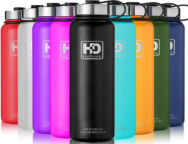 Save 45%Off HvDrink Water Bottle Insulated - Cold 24 Hours Hot 12 Hours - 21 OZ - 50 OZ, Stainless Steel