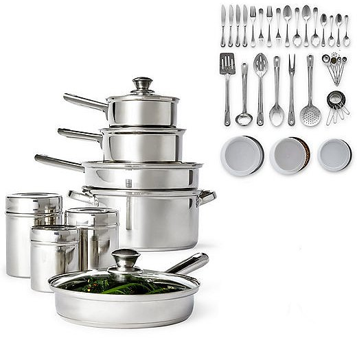 52-Piece Cooks Stainless Steel Cookware Set