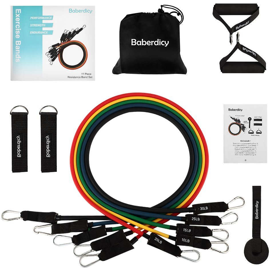 Resistance Bands Set –Baberdicy Include 5 Stackable Exercise Bands with Carry Bag and Beautiful Package,Door Anchor Attachment