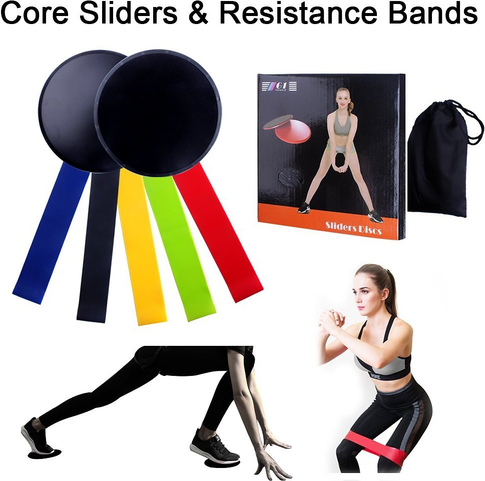 Core Sliders and Resistance Loop Bands Exercise Set