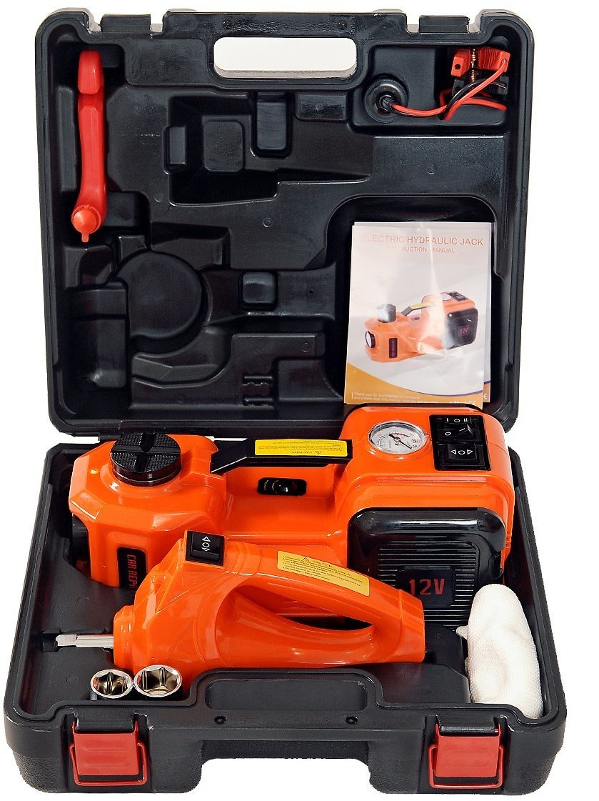 MarchInn 12V DC 5.0T(11000lb) Electric Hydraulic Floor Jack and Tire Inflator Pump and LED Flashlight