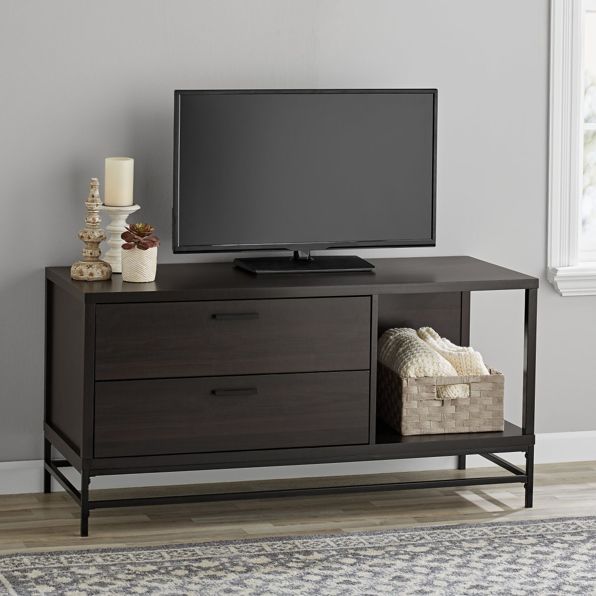 Mainstays Wood & Metal TV Stand (Ships Free)