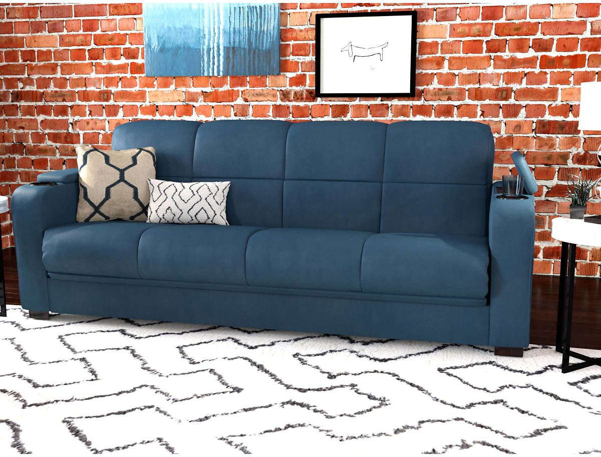 Mainstays Tyler Futon with Storage Sofa Sleeper Bed, 6 Colors