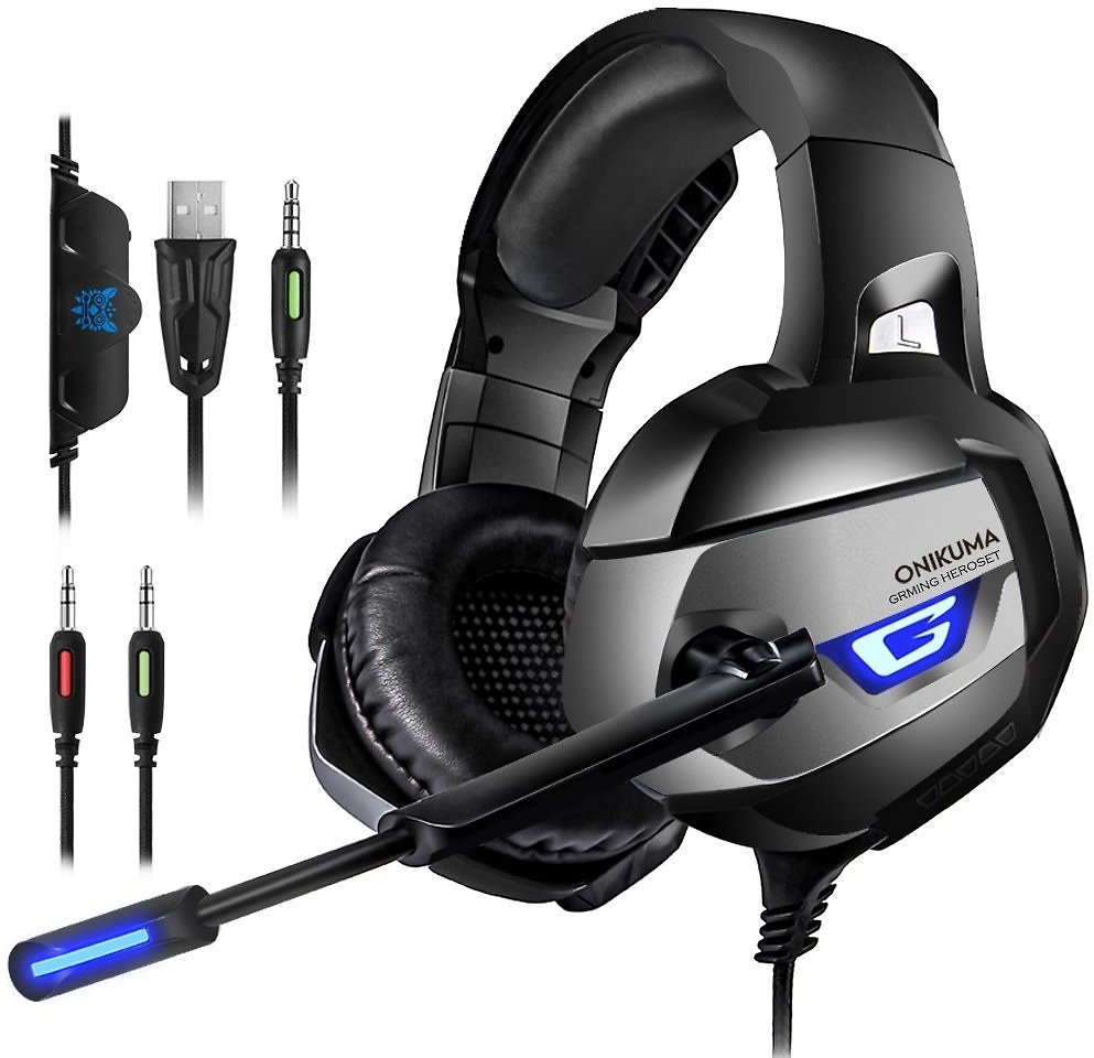 ONIKUMA Gaming Headset for PS4, PS4 Gaming Headset with 7.1 Surround Sound, Xbox One Headset with Noise Canceling Mic LED Light,