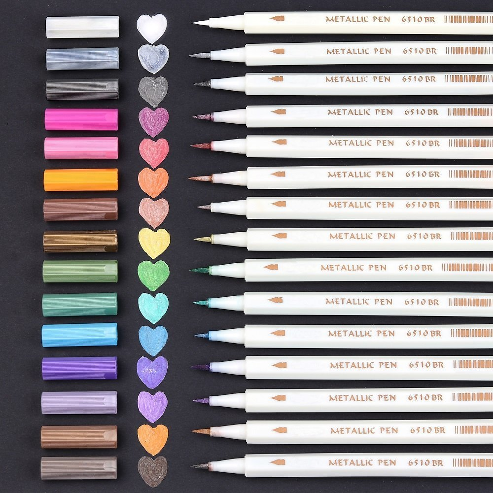40% OFF  Lelix 15 Colors Metallic Brush Markers for Rock, Glass, Wood Painting