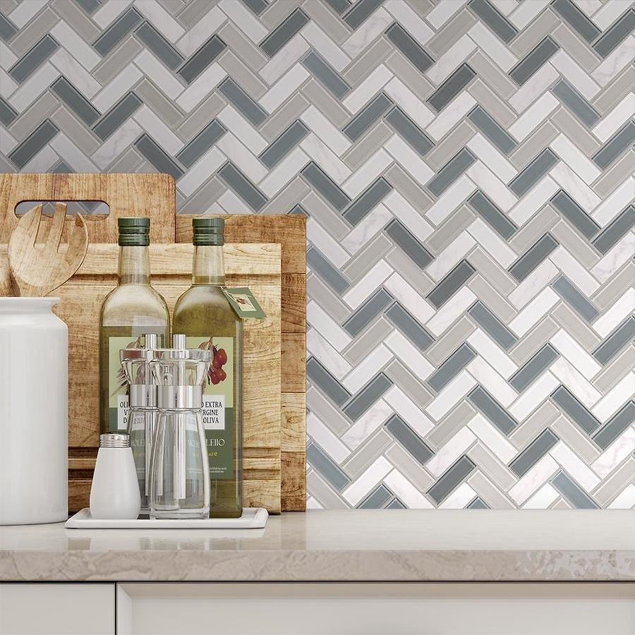 Elida Ceramica Island Reef Linear Mosaic Stone and Glass Wall Tile (Common: 12-in X 12-in; Actual: 10.5-in X 11.75-in)