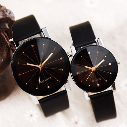 Men Women Leather Strap Line Analog Quartz Ladies Wrist Watches