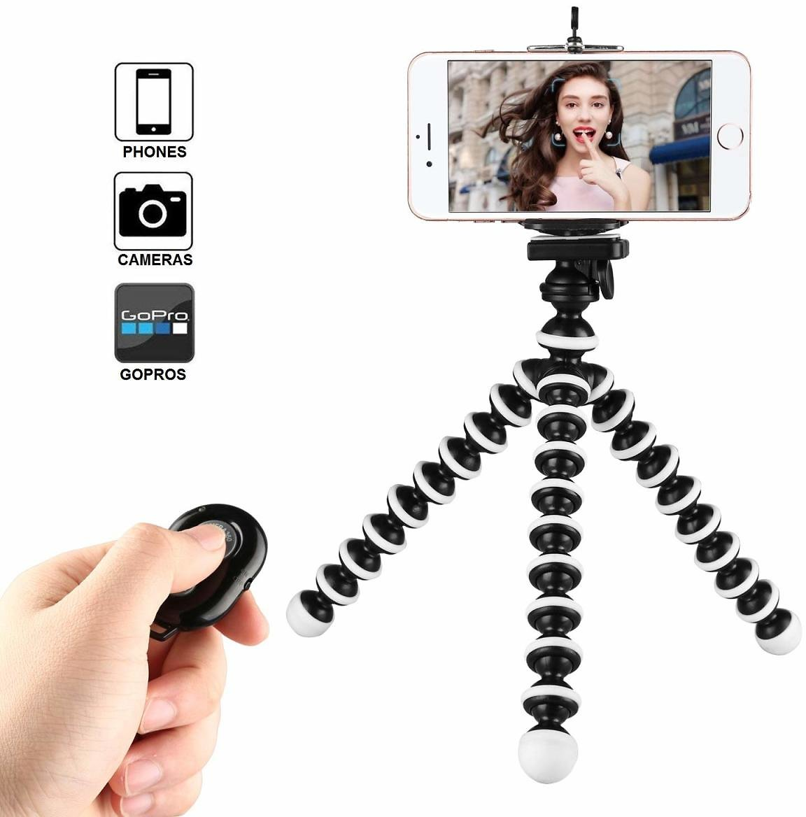 (Lightning Deals) Flexible Phone Tripod with Wireless Remote for iPhone Android Cell Phones Camera