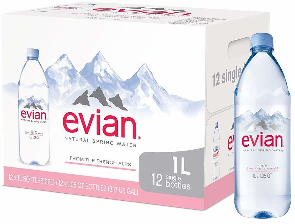 12-Pack evian Natural Spring Water, 33.81 Fl Oz each (with Subscribe & Save)