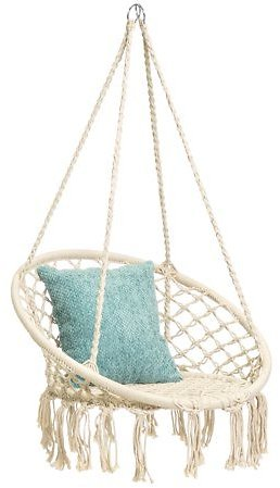 Best Choice Products Indoor/Outdoor Hanging Cotton Macrame Rope Hammock Lounge Swing Chair w/ Fringe Tassels