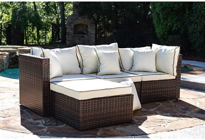 FLASH DEAL - Burruss Patio Sectional with Cushions - Brown/Gray (Today Only)