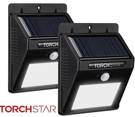 TORCHSTAR 2 Pack LED Solar Powered Motion Sensor Lights, Wireless Outdoor Wall Lighting, for Garden, Deck, Yard