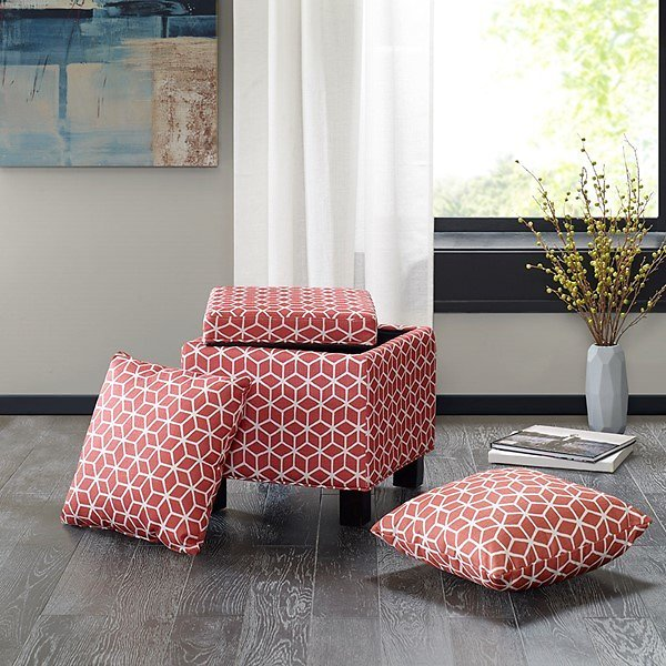 Shelley Square Storage Ottoman with Pillows (Red/White)