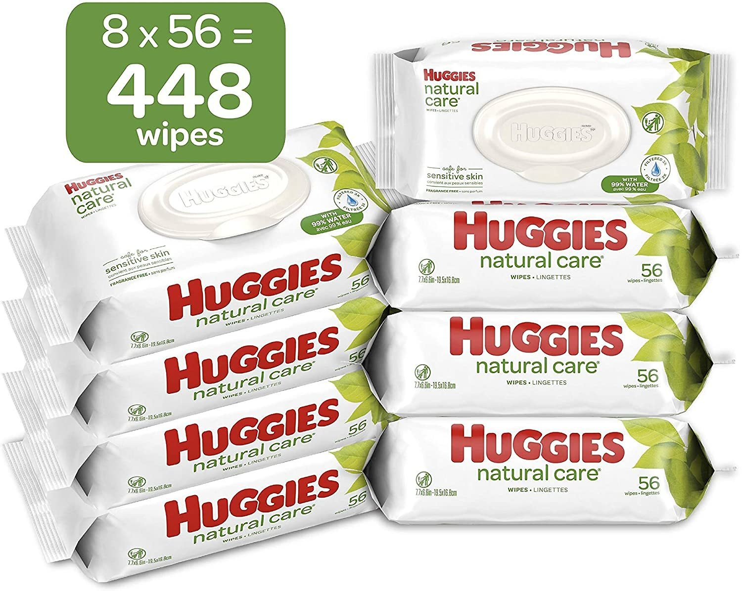 HUGGIES Natural Care Unscented Baby Wipes, Sensitive, 8 Flip-top Packs, 448 Count Total