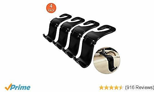 4-Pack Car Hooks, Back Seat Headrest Hook Vehicle Car Storage Organization for Purse Grocery Bag Shopping Bags