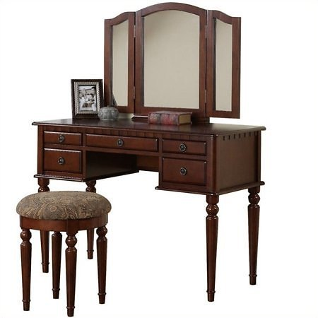 (Ships Free) 3 Fold Mirror Vanity Table with Stool Set - 3 Colors