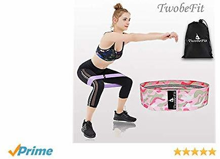 TwobeFit Resistance Hip Bands, Booty Exercise Workout Fitness Bands Booty Building Fabric Non-Slip Hip Bands Leg Set of 3