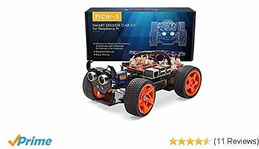 SunFounder Raspberry Pi Car DIY Robot Kit for Kids and Adults, Visual Programming with Ultrasonic Sensor Light Following Module and Tutorial