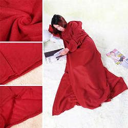 Oversized Soft Fleece Blanket with Cuddle Sleeves (4 Colors)