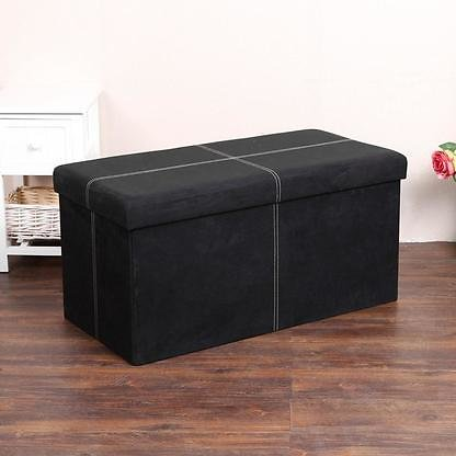 PVC Leather Suede Cube Ottoman Bench