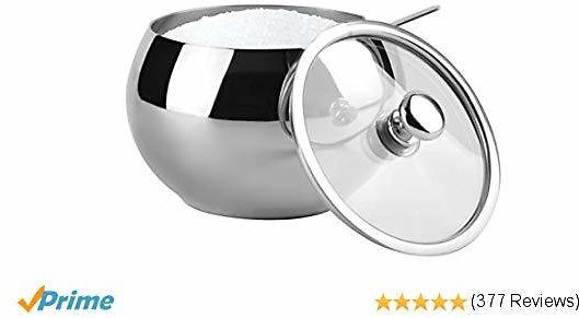 KooK Large Sugar Bowl, Glass With Clear Lid and Spoon, Holds 2 cups of Sugar, 16.9oz