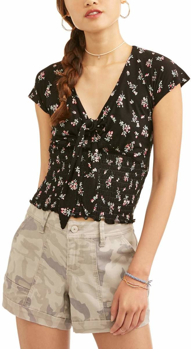 Juniors' Floral Printed Smocked Tie Front Blouse