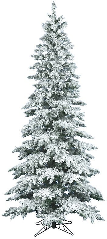 Flocked Utica 7.5' White/Green Fir Trees Artificial Christmas Tree with Stand
