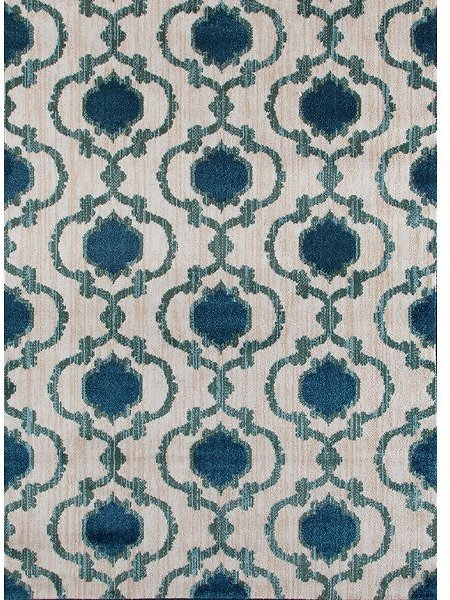 Loft Cream/Blue Area Rug-Rug Size: Rectangle 7'10