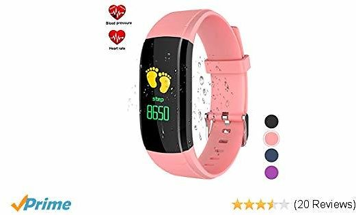 Save 30% On Color Screen Fitness Tracker with Blood Pressure Monitor,Heart Rate Monitor Life Waterproof Fit Watch for Kids/Women