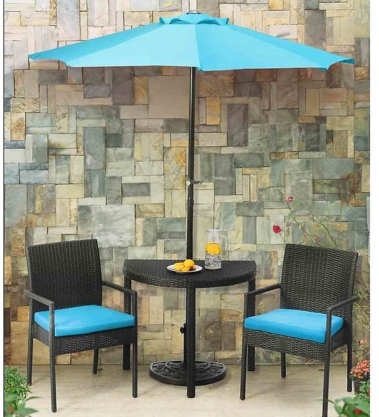 Sibley Balcony 3 Piece Bistro Set with Cushions and Umbrella
