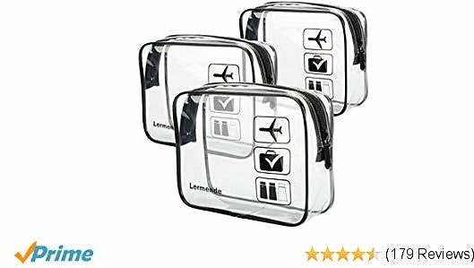 Toiletry Bag Clear Airport Airline Compliant Bag Travel (3Pcs) $5.85