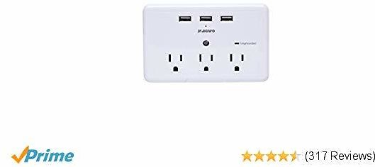 3 USB 3 Outlet Plug Extender Surger Protector, Multi Plug Outlets and 3 USB Wall Charger, 3.1A Wall Plugs Charging Stations, 918 Joules to Protect Your 6 Device By JF.EGWO, White