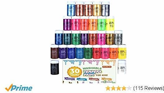 Tempera Paint,Shuttle Art 30 Colors Washable Tempera Paint Set for Kids, 2oz Bottles, Metallic Glitter and Neon Colors and Wide Mouth Bottles Easy for Posters, Arts and Projects