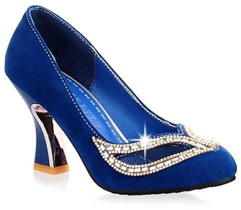 46% OFF.........! Hollow Out Rhinestone Chunky Heel Pumps
