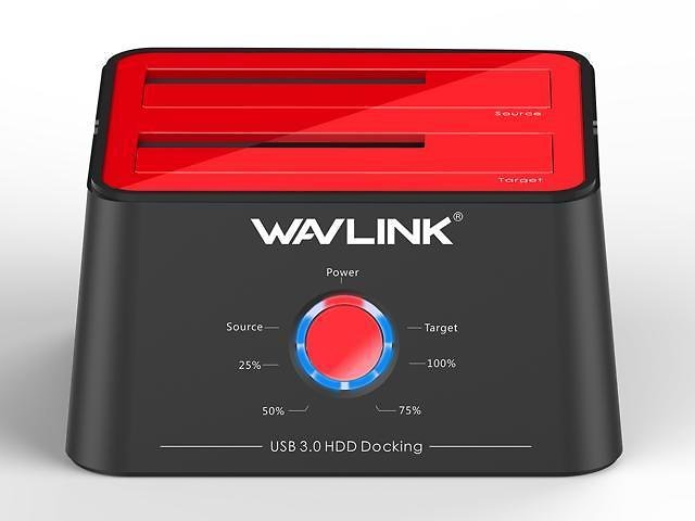Wavlink Updated Hard drive Docking Station - USB 3.0 to SATA Dual Bay HDD Docking Station in Red For 2.5 & 3.5 In. HDD/SSD SATA