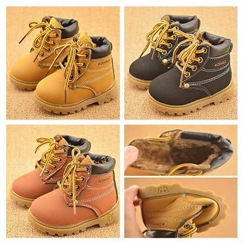 Meigar Baby Kids PU Leather Martin Snow Boots Fur Lined Winter Warm Shoes