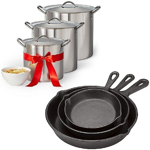 Cooks 3-Pc Cast Iron Fry Pan or 3-Pck Stockpot
