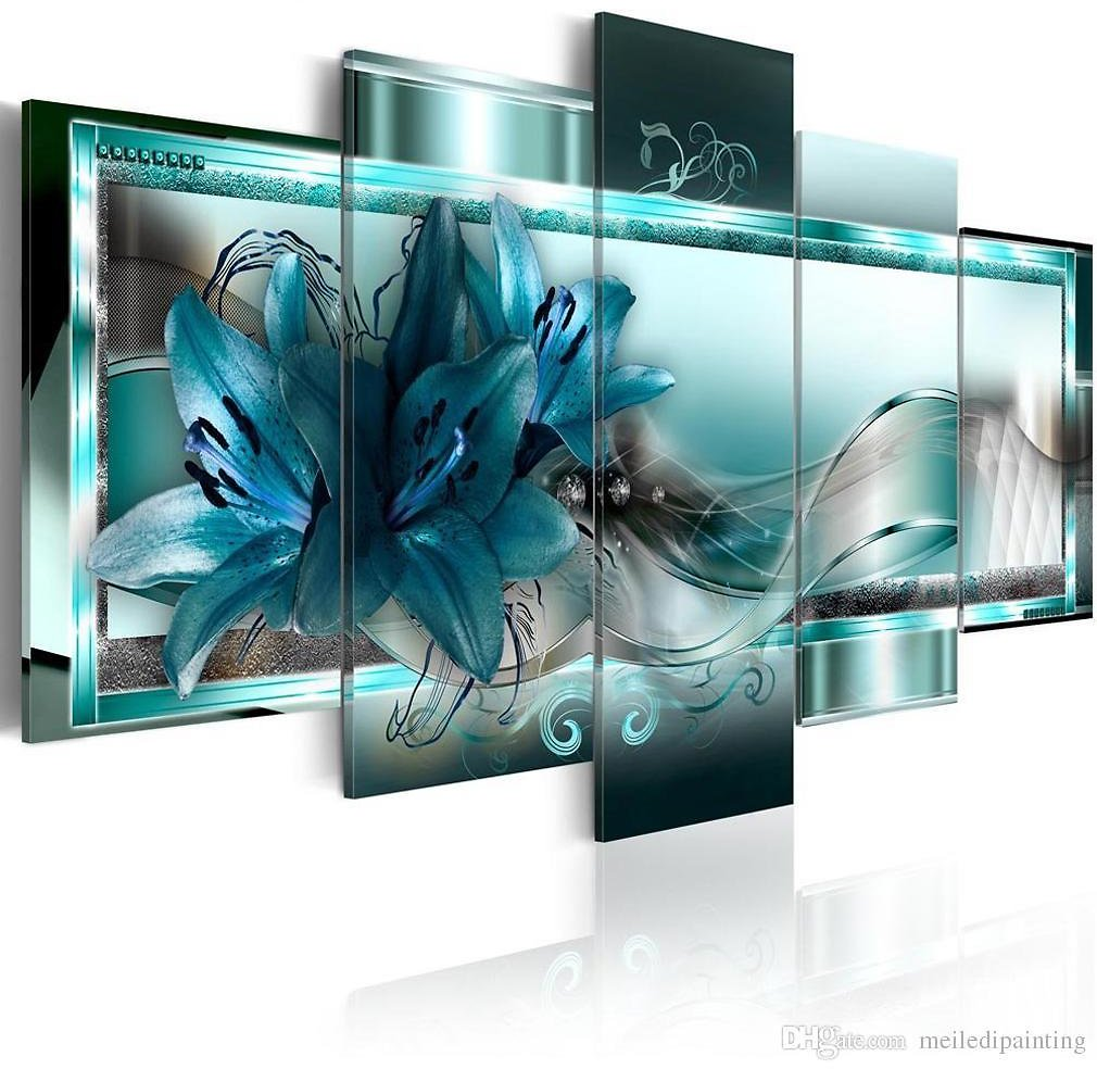 2018 Amosi Art 5 Panels Blue Lily Flowers Painting Ribbon For Background Wall Art Floral Printed For Home Decor Framed From Meiledipainting, $42.5   DHgate.Com