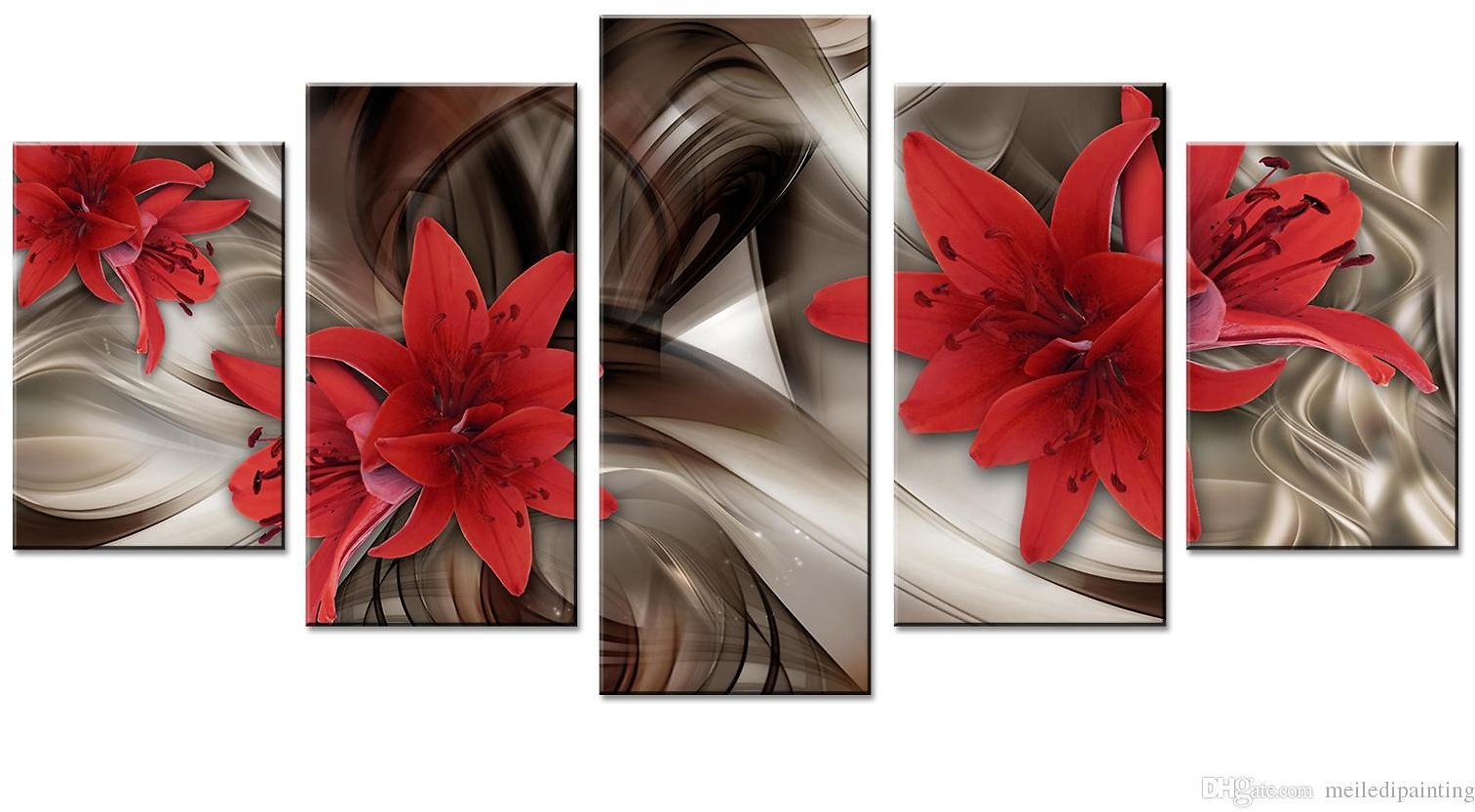 2018 Amosi Art Red Lily Flowers Canvas Wall Art Abstract Lines Background Canvas Painting Wall Picture For Home Decor Framed Ready To Hang From Meiledipainting, $42.5   DHgate.Com