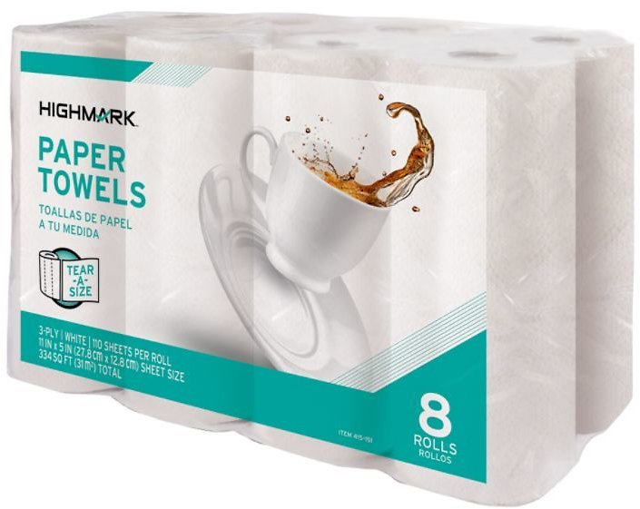 8-Pk, Highmark 3 Ply Tear A Size Kitchen Roll Towels White 11 X 5 110 Towels