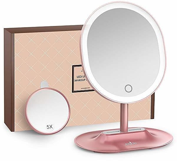 Anjou AJ-MTA005 1X / 5 X Magnification, USB Rechargeable Vanity Mirror Touchscreen Dimmable LED Light for Countertop Cosmetic Makeup, Rose Gold